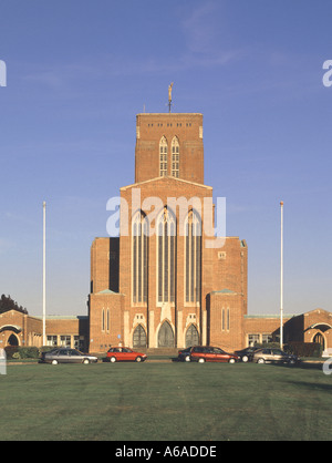 The brick built Anglican Cathedral Church of the Holy Spirit on Stag Hill in Guildford Surrey England UK - Stock Photo
