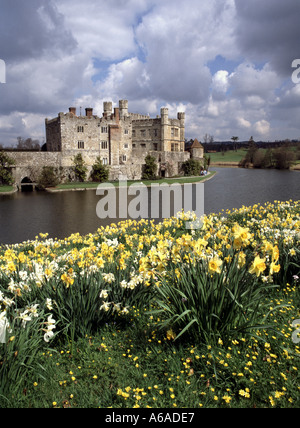 Historical Leeds Castle and moat also known as Ladies Castle situated on the River Len with spring daffodils in - Stock Photo