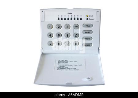 Alarm Control box isloated on white - Stock Photo