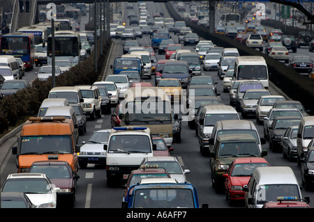 Traffic jam in Beijing China 17 Jan 2006 - Stock Photo