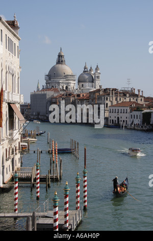 view from the Bridge Accademia on Grand Canal and Santa Maria della Salute Venice, UNESCO World Heritage Site, Italy, - Stock Photo