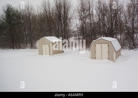 Garden Sheds Rochester Ny snow fall in bambi drive rochester ny usa stock photo, royalty