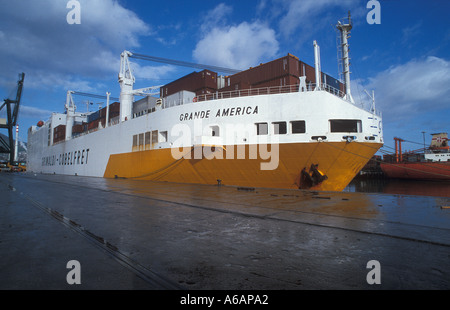 Container and car  carrier Grande America in Port - Stock Photo