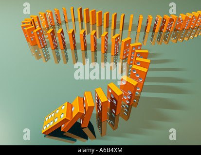 dominoes in a row symbol of chain reaction cause effect fall decline ruin catastrophy crash smash colapse bankruptcy - Stock Photo