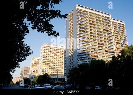 Blocks of flats on Leipziger Strasse in Berlin Germany - Stock Photo