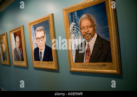 Textile portraits of Secretary General at UN headquarters in New York USA Dec 2006 - Stock Photo