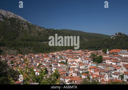 Mountain village of Agiasos on the island of Lesvos (mytilene) in Greece - Stock Photo