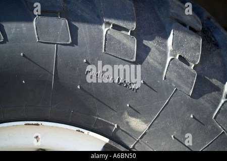 truck tyre made in USSR - Stock Photo