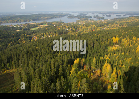 Autumn colours in the view from the Puijo Tower in Kuopio Finland - Stock Photo