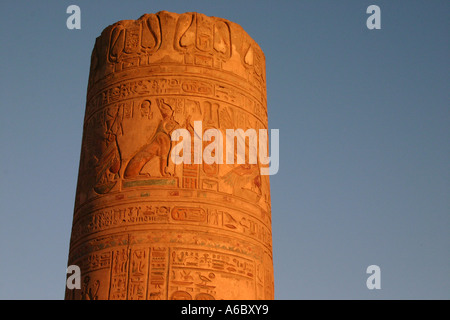 Single Column at Ruined temple in Kom Ombo with details of hieroglyphs - Stock Photo