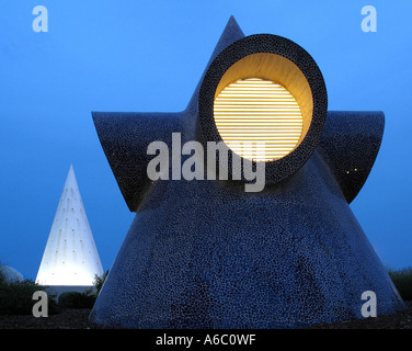 Futuristic Architecture in Arts and Science Park by Night at Valencia Spain - Stock Photo