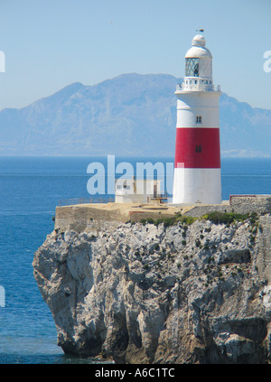 Lighthouse at Europe Point Gibraltar with Straight of Gibraltar and Africa and Marocco in background - Stock Photo
