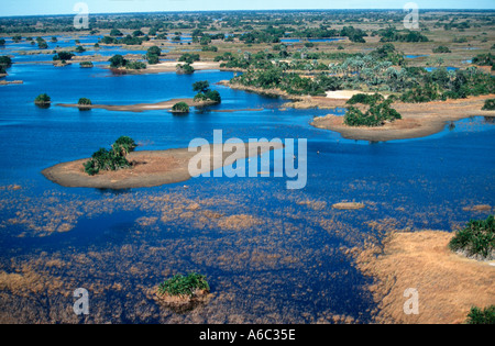 Central Okovango Aerial view of islands and waterways of Central Okovango Wilderness Area in the Delta Okovango - Stock Photo