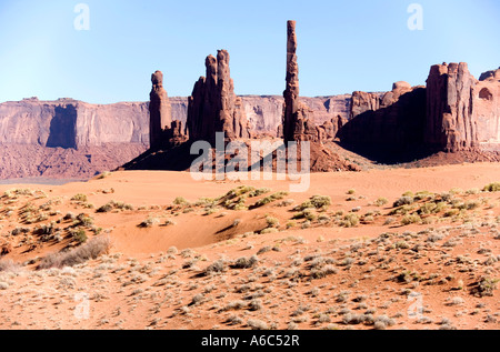Totem pole like rock formation in Yei Bi Chei area in the Valley of the Gods Utah located near Mexican Hat - Stock Photo