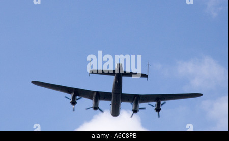 NORTH WALES UK A Avro Lancaster flies past from the Battle of Britain Memorial Flight - Stock Photo