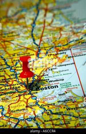 Map Pin Pointing To Boston Massachusetts USA On A Road Map - Boston ma usa map