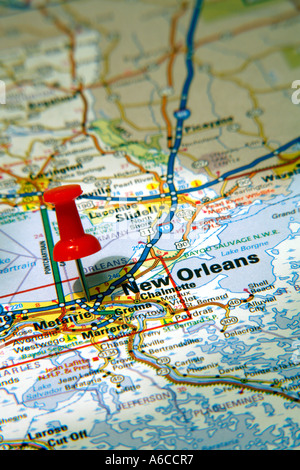 Map Pin Pointing To New Orleans Louisiana USA On A Road Map - New orleans in usa map
