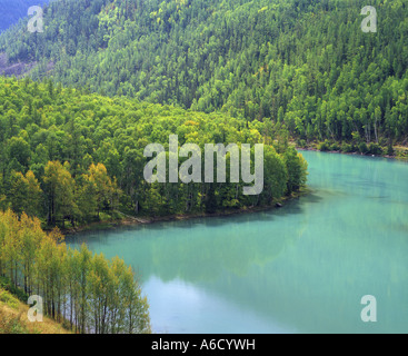 High angle view of Altay Mountains, Kanas Lake Nature Reserve, China - Stock Photo