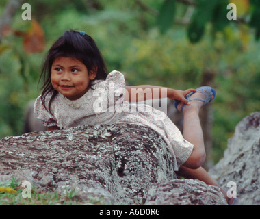 MAYAN GIRL in SANTA ROSA DE COPAN HONDURAS - Stock Photo
