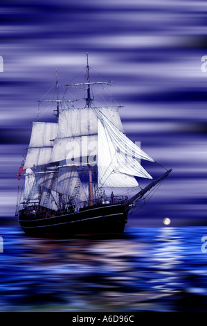 Old Sailing Ship at night Moon Rise Painting Gaffer Isle of Wight England - Stock Photo