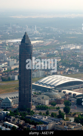 DEU, Germany Skyiline Frankfurt airial view from the west, in the foreground the Messe tower, hall 3 - Stock Photo