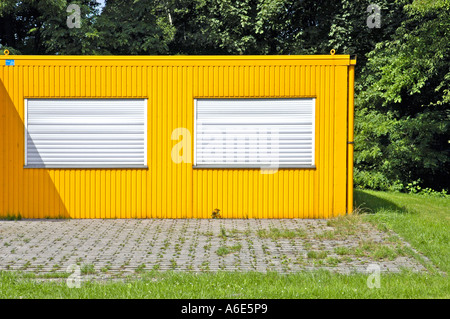 Yellow hut on gruener lawn, replacement, draw works Henrichenburg, Westphalian industry museum, Waltrop, museum, - Stock Photo