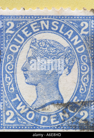 Queen Victoria stamp from the Australian state of Queensland - Stock Photo