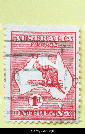 The first Australian stamp 1 penny 1d red kangaroo was issued in 1913 - Stock Photo