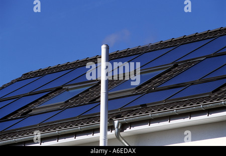 Photovoltaic (solar) panels on a residential property in Solingen, North Rhine Westphalia, Germany. - Stock Photo