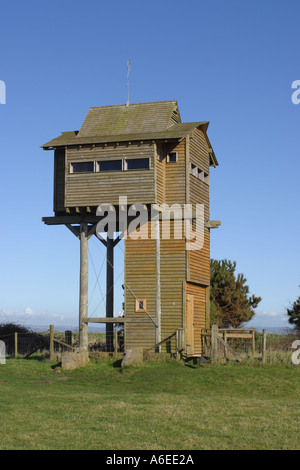 Steart Point bird hide on a nature reserve along the River Parrett by Bridgwater Bay Somerset England UK - Stock Photo