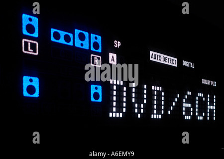 Display of a DVD Players with the Surround loudspeakers signs - Stock Photo