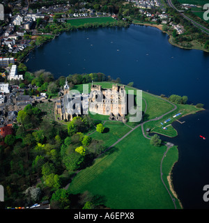 Linlithgow Palace Edinburgh Scotland aerial view - Stock Photo