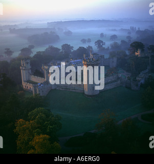Autumnal morning Warwick Castle UK aerial view - Stock Photo