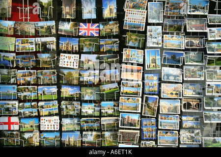 Postcards for sale outside newsagent shop King's Parade, Cambridge, Cambridgeshire, England, UK - Stock Photo