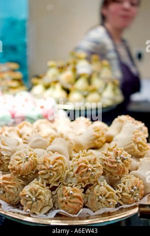 Paris France, Stores Algerian Pastries 'La Baque de Kenza' Exotic Food Detail Djiriates, Dessert Cakes, Sweets Pastries - Stock Photo