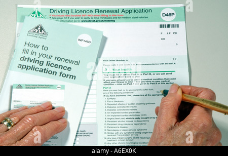 A DVLA British driving licence renewal application form D46P - Stock Photo