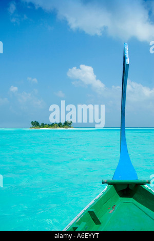 View of desert island from dhoni The Maldives - Stock Photo