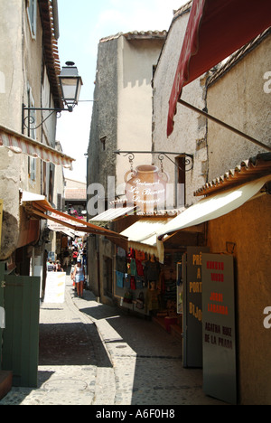 Carcassonne fortified medieval town typical narrow street - Stock Photo