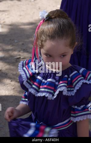 Young hispanic New Mexican folk dancers at El Rancho de Las Golondrinas, New Mexico - Stock Photo