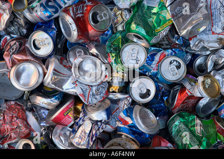 Crushed aluminum cans piled for recycling, - Stock Photo