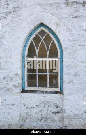 arched shaped wooden window on an old whitewashed  welsh house  Aberaeron Ceredigion Wales UK - Stock Photo