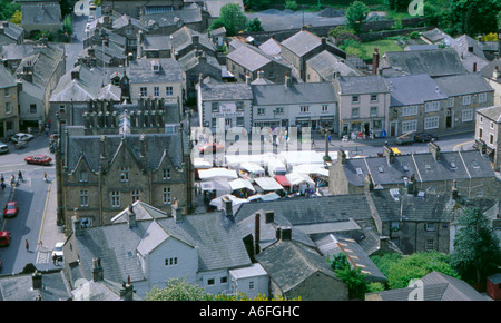 Birdseye view of Settle from Castleberg Hill, Ribblesdale, North Yorkshire, England, UK. - Stock Photo