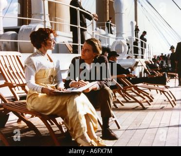 TITANIC  Oscar winning 1997 TCF film with Kate Winslett and Leonardo DiCaprio - Stock Photo