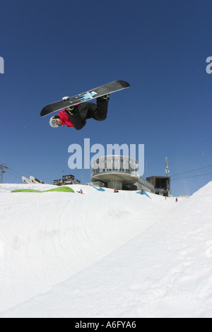 Lesley McKenna world cup snowboarder in the half pipe at Laax Switzerland - Stock Photo