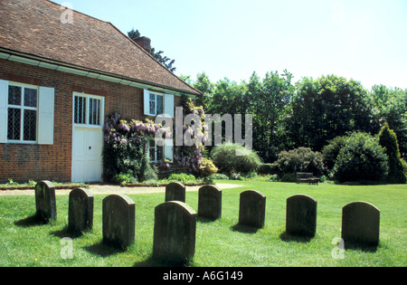 Grave of Pennsylvania founder William Penn in front of the Quaker Meeting House at Jordans in England - Stock Photo