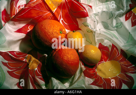 Abstract image of oranges and lemons fruit food on silk scarf - Stock Photo