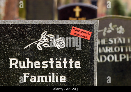 Right of use is expired - Sticker on a gravestone of a family grave, Germany - Stock Photo