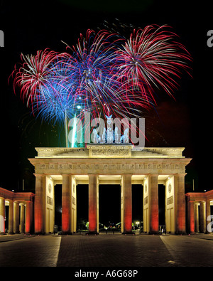 fireworks over the Brandenburg Gate, Germany, Berlin - Stock Photo