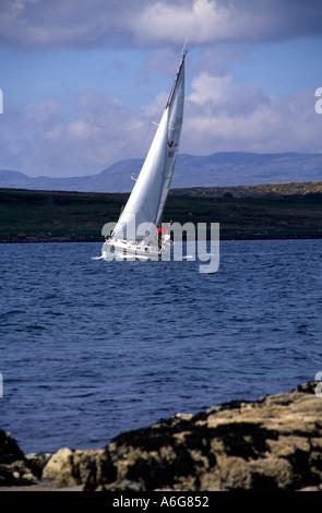 a Najad yacht sailing close hauled on Loch Sween Argyll Scotland Europe - Stock Photo