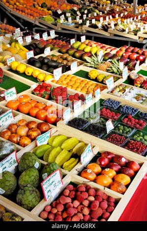 Fruits on the farmer market, Viktualienmarkt, Munich, Bavaria, Germany - Stock Photo